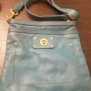 Marc Jacob's Aqua Leather Crossbody Satchel